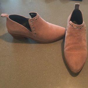 Pink suede booties